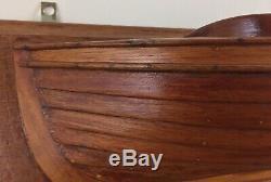 Antique Demi-coque Modèle Bateau Creux Bois Maine Domaine 25,25 X 7,5 X 5,5 Pouces