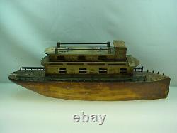 Antique Folk Art Wooden Boat Modèle Steamer Pond Boat Toy 26 Long
