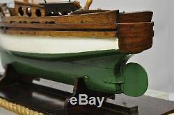 Antique Grand Chêne Bois Modèle Voilier Navire Bateau Sur Le Stand De Base