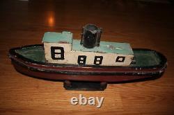 Antique Handmade Steamship Folk Art Ship Bois / Modèle De Bateau En Étain Grands Lacs
