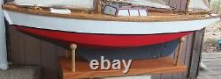Antique Model Hollow Wood Yacht Voilier Yawl Ship Pond Boat 48 Long 4' Tall