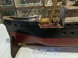 Antique Primitive Ss Hoxie Baltimore Steam Cargo Ship Modèle Bateau En Bois Fait Main