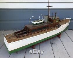 Antique Vintage 46 Grand Modèle En Bois Motorisé Étang Yacht Bateau Bateau À Vapeur