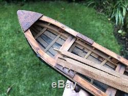 Antique Vintage Wood En Bois Bateau À Rames Navire Navire Marine Rames Diorama Modèle