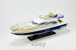Azimut 64 Flybridge Yacht 34 Modèle De Bateau En Bois Fabriqué À La Main