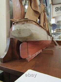 Bateau À Voile Rare Antique Des Années 1920 De Bateau À Voile Fait Main En Bois X933