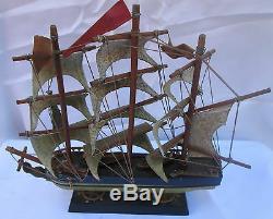 Bateau De Pêche À La Baleine À Voile En Bois D'époque 1846 Modèle De Bateau En Bois (sh1125)