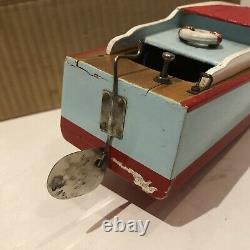 Bateau Japonais De Modèle En Bois Actionné Par Batterie De Cru Des Années 50 Avec La Boîte