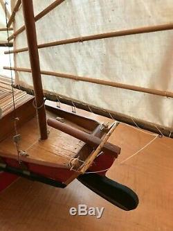 Bois De Fabrication Artisanale Jonque Chinoise Détaillée Modèle Bateau 34 X 26