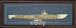 Bois Modèle De Sous-marin Cutaway Ww II Uss Balao (ss-285) Fabriqué Aux Etats-unis