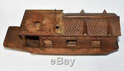 Cachemire Inde Sculpté Modèle Boat House Vintage En Bois De Teck Jonque Jouet