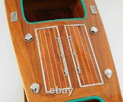 Chris Craft Triple Cockpit Speed Boat Modèle En Bois 32 Vernis À La Main