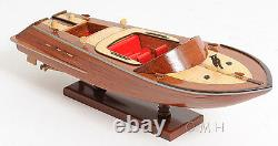 Classic Runabout Speed Boat Wood Modèle 16 Bateau À Moteur Fabriqué À L'aide Entièrement Construit Neuf