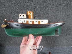 Début Des Années 1900 Antique Key Vent Toy Modèle Bois Remorqueur Robert E, Woodcliff, Nj