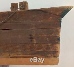 Demi-coque En Bois Antique Maine Estate 38,5 X 6 X 5,5 Pouces Énorme Modèle Lourd