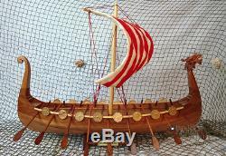 Drakkar Viking Fait Main Modèle De Bateau En Bois