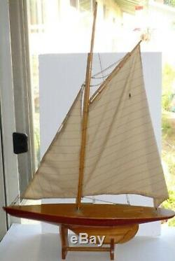 Étang Vintage Boat Yacht Modèle En Bois Voilier Restauration 25 Hallow Bois Hull