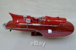 Ferrari Hydroplane 15 Beau Modèle De Bateau En Bois L40 Main Cadeau De Noël