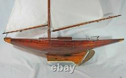 Fine Large Antique / Vintage Planked Wooden Model Sailing Boat Pond Yacht 1900