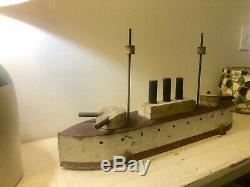 Folk Art Rare Lg 30 Bois Navire Modèle Début 20e Gunner Bateau Jouet Tirer