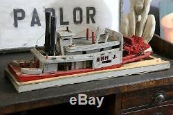 Folk Art Vintage Fait Main En Bois À Vapeur Modèle De Bateau À Vapeur Paddle Antique Maritime