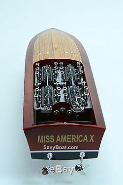 Gar Wood Miss America X 32 Modèle De Bateau À La Main En Bois Modèle De Bateau De Course
