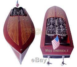 Gar Wood Miss America X U-10 32 Bateau De Course Modèle En Bois À La Main
