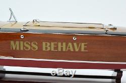 Gar Wood Speedster Miss Behave Bateau En Bois Classique Fait À La Main, Modèle 32