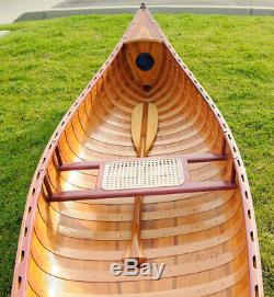 Grand Écran Cèdre Bande Intégré Canoë 10' Modèle De Bateau En Bois Woodenboat États-unis Nouveau