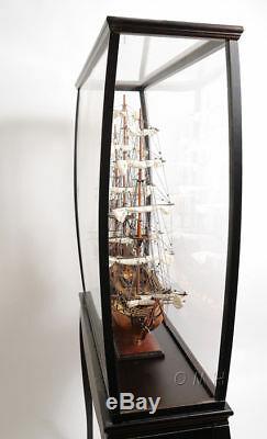 Grand Grand Modèle Navire Bateau En Bois Vitrine 40 X 69 Cabinet Stand Avec Jambes Nouvelles