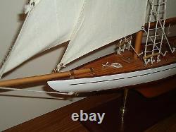Grand Modèle Lulworth Yacht 70cm Sur Support En Bois Fait Main - Bateau Maritime