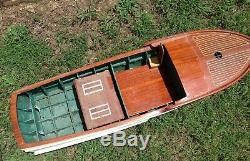 Grand Rare Vintage 48 Chris Craft Cabine Cruiser En Bois Modèle De Bateau Modèle De Bateau