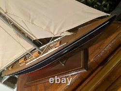 Grand Vintage Creux Bateau En Bois Étang Yacht Display Ship Sailboat Modèle- 36x44