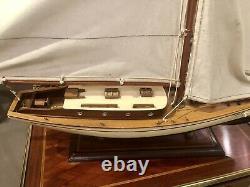 Grand Yacht Modèle 75cm De Long Sur Stand Main Fait En Bois -bateau Maritime