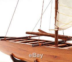 Hawaiian Display Sailboat 25 Outrigger Canoe Bateau En Bois Modèle De Collection Décor