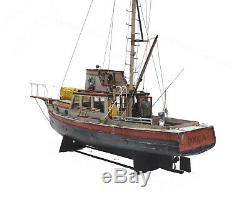 Jaws Orca 3 Foot Modèle Bateau Avec Quint Statue Bois Homard Bateau Musée Qualité
