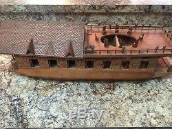 Maison De Bateau Modèle Inde Rare Rare En Bois De Noyer Sculpté Kashmir Inde