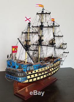 Maquette De Bateau En Bois San Felipe 32 Naviguant Haut Bateau Espagnol