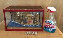 Miniature Diorama Voilier Chinois Dans La Boîte Modèle Vendange Bateau De Bois Junk