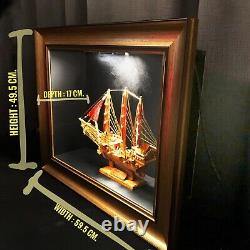 Modèle Chinois De Bateau En Bois De Jonque Décoratif Entièrement Assemblé Downlight Blackbox