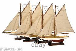 Modèles Authentiques As057a Mini Pond Yachts, Ensemble 4 Bateaux En Bois De 20 Pouces