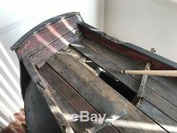 Navire Modèle Massif Nautique Antique En Bois Sculpté