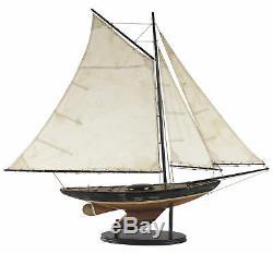 Newport Sloop Modèle De Bateau En Bois 39 Terminer Antiqued Voilier Nautique Décor Nouveau