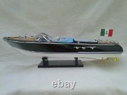 Nouveau Riva Aquarama 21 White-blue Seat Quality Wood Model Boat L50 Livraison Gratuite