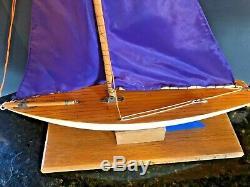 Rare Vintage English Bois Bateau Jouet Modèle Étang En Bois Yacht À Voile Bateau 20 Grand
