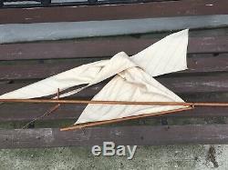 Rare Vintage Jacrim Seaworthy Bateaux Toy Modèle Étang En Bois Location Nuage Volant