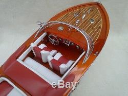 Riva Aquarama 20 Blanc-rouge De Haute Qualité Modèle En Bois Bateau L50 Main Home Decor