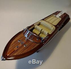 Riva Aquarama 34 Model Boat En Bois L Bateau De Vitesse Italien Fait À La Main De 90 CM