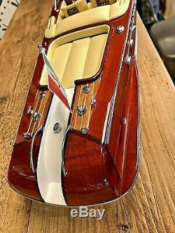 Riva Aquarama Modèle Bois Bateau L51cm Main Vitesse Italienne Bateau Authentic Models
