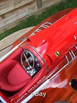 Riva Ferrari Arno IX 26 Bateau À Pédale En Bois L70 CM Bateau Fait Main À La Main Italien